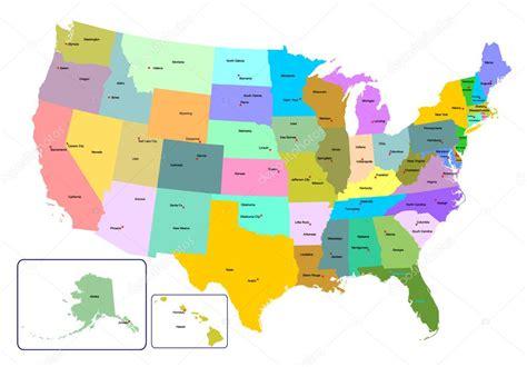 colorido mapa dos EUA com Estados e capitais — Vetor de ...