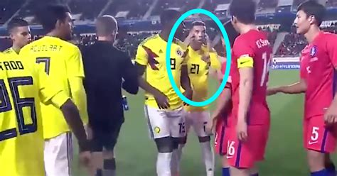 Columbian Soccer Player Makes Racist Gesture At Korean ...