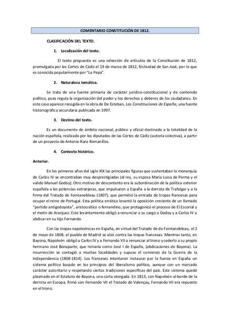Comentario constitución de 1812. definitivo