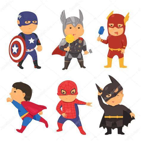 Comic-Superhelden Kostüm Kinder. Vektor-Illustration für ...
