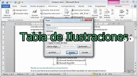 Como crear una   tabla de Ilustraciones   en Office Word ...