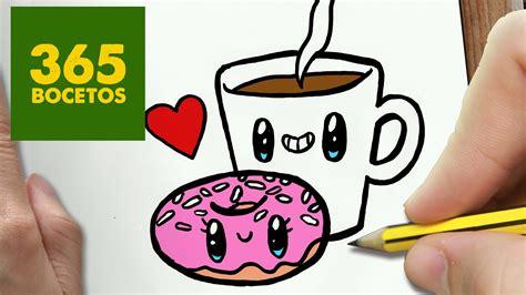 COMO DIBUJAR CAFE Y DONUT KAWAII PASO A PASO - Dibujos ...