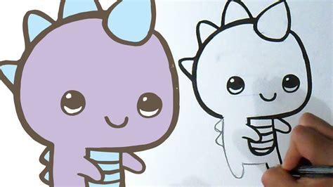Cómo dibujar Dinosaurio Kawaii - YouTube