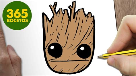 COMO DIBUJAR GROOT EMOTICONOS WHATSAPP KAWAII PASO A PASO ...