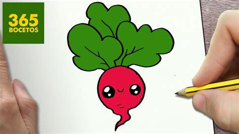 COMO DIBUJAR RABANO KAWAII PASO A PASO   Dibujos kawaii ...