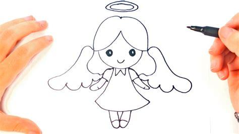 Cómo dibujar un Ángel para niños | Dibujo de Ángel paso a ...