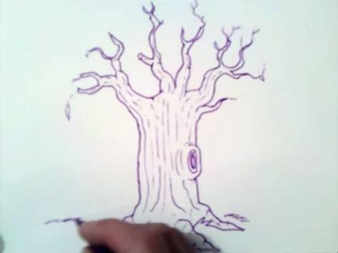 como dibujar un arbol sin hojas paso a paso | como dibujar ...
