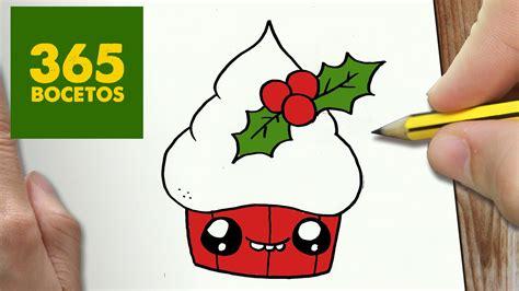 COMO DIBUJAR UN CUPCAKE PARA NAVIDAD PASO A PASO: Dibujos ...