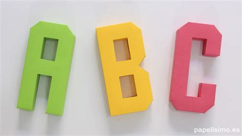 Cómo hacer letras 3D de papel o cartulina  Abecedario A Z ...
