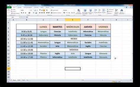 Como Hacer un Horario en Excel