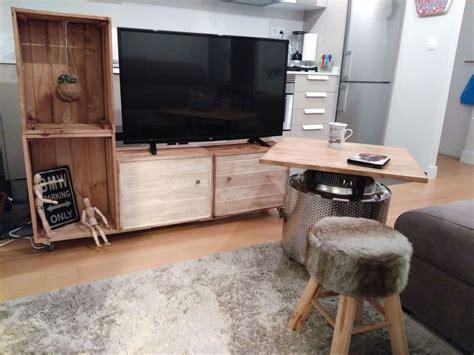 ¿Cómo hacer un mueble para la TV con cajas de fruta ...