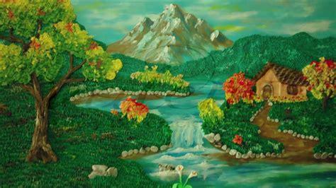 como hacer un paisaje en plastilina 1 el cielo - YouTube