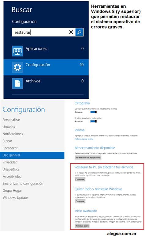 Cómo restaurar el sistema Windows 8