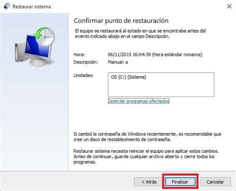 Como restaurar Windows 10 a un punto anterior  Crear un ...