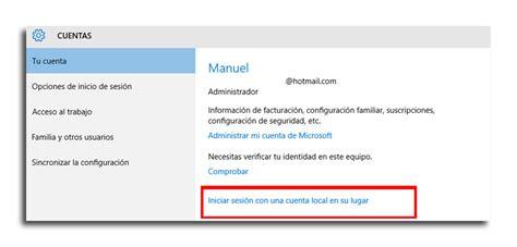 Como volver a tener una cuenta local en Windows 10