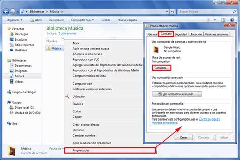 Compartir carpetas y archivos en red en Windows 7