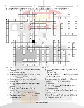 Compound Nouns Crossword Puzzle by ESL Fun Class and ...