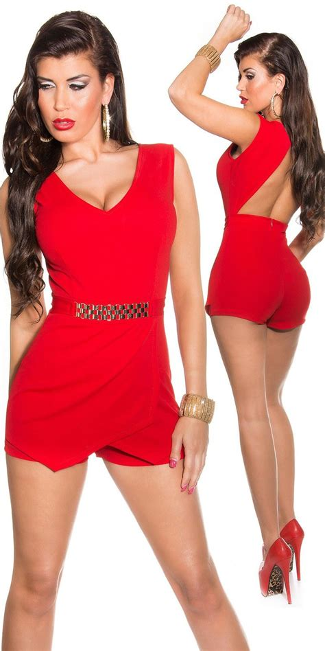 Comprar Mono corto entallado de fiesta rojo online Monos ...