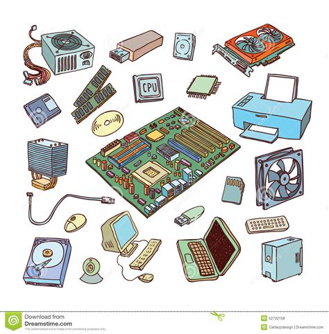 Computer Hardware Icons. PC Components Stock Vector ...