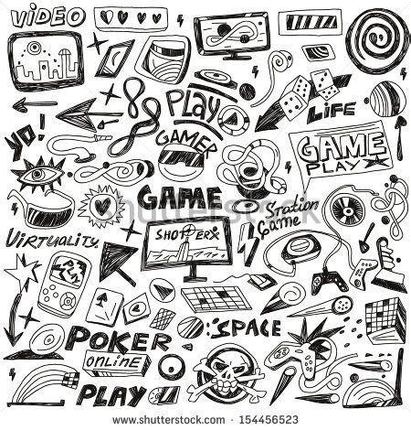 computers games - doodles set vector - stock vector | Game ...