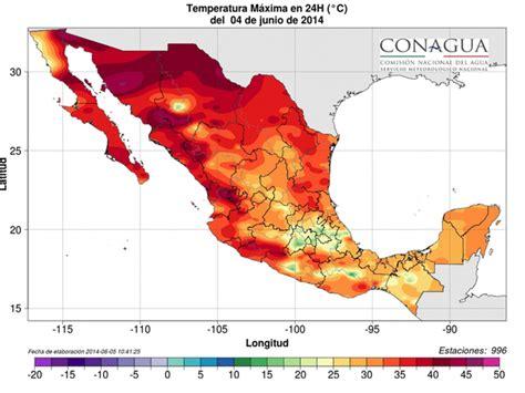 CONAGUA Clima on Twitter:  Mapa de temperaturas máximas ...