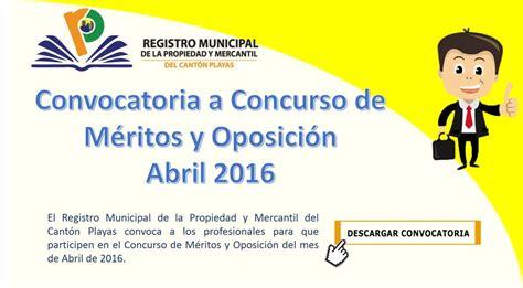 Concurso de Méritos y Oposición Abril 2016 - Registro ...
