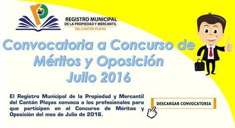 Concurso de Méritos y Oposición Julio 2016 - Registro ...