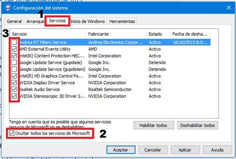 Configuración de Inicio Selectivo en Windows 10 ...