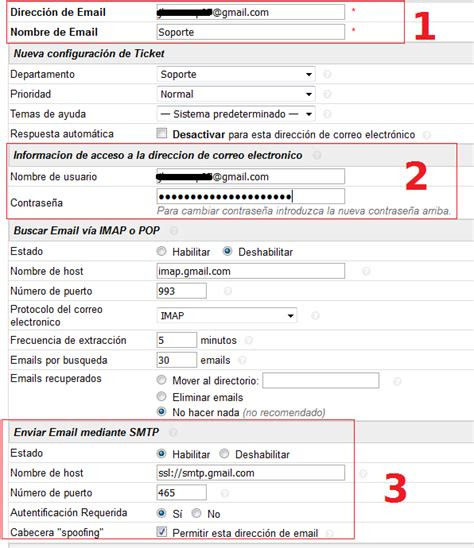 Configurar correo de gmail en osticket