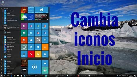 Configurar iconos menú inicio windows 10 en español   YouTube