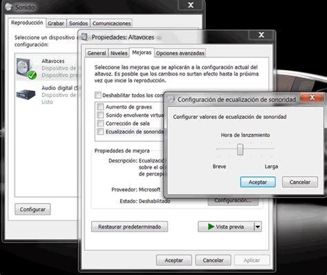 Configurar sonidos en altavoces en Windows 7