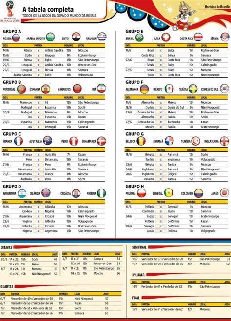 Confira e imprima a tabela da Copa do Mundo 2018, com ...