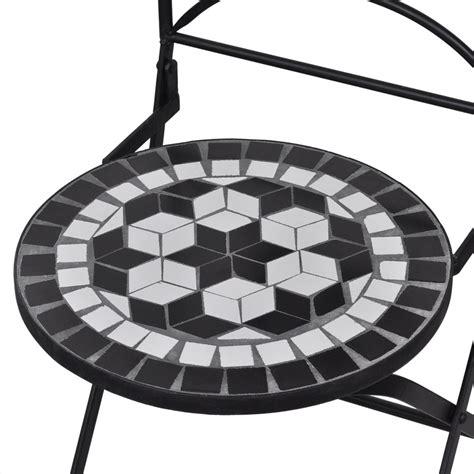 Conjunto de 2 sillas de jardín mosaico blanco y negro ...
