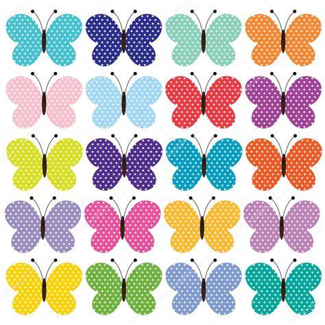 Conjunto de coloridas mariposas dibujos animados — Vector ...