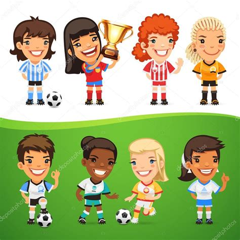 Conjunto de dibujos animados mujeres futbolistas — Vector ...