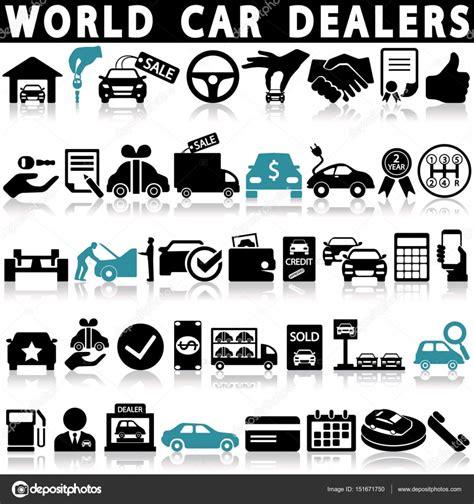 Conjunto de iconos de concesionario coche — Vector de ...