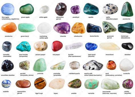 conjunto de varias piedras preciosas caídas con nombres ...