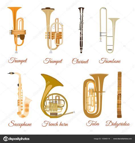 Conjunto de vectores de instrumentos musicales de viento ...
