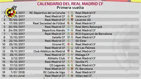 Conoce el calendario completo de Liga del Real Madrid   La ...