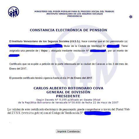 CONSTANCIA ELECTRONICA DE PENSION Y/O JUBILACION - ???? IVSS ...