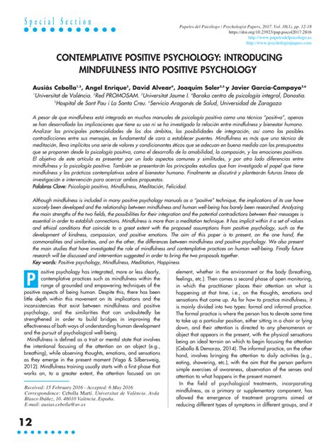 CONTEMPLATIVE POSITIVE PSYCHOLOGY:... (PDF Download Available)
