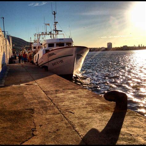 Contra luz de la llegada de un barco pesquero al puerto de ...