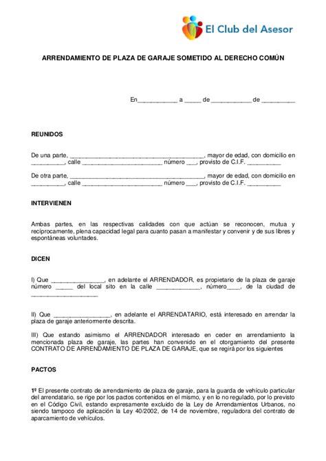 Contrato De Arrendamiento De Plaza De Garaje Plantillas ...