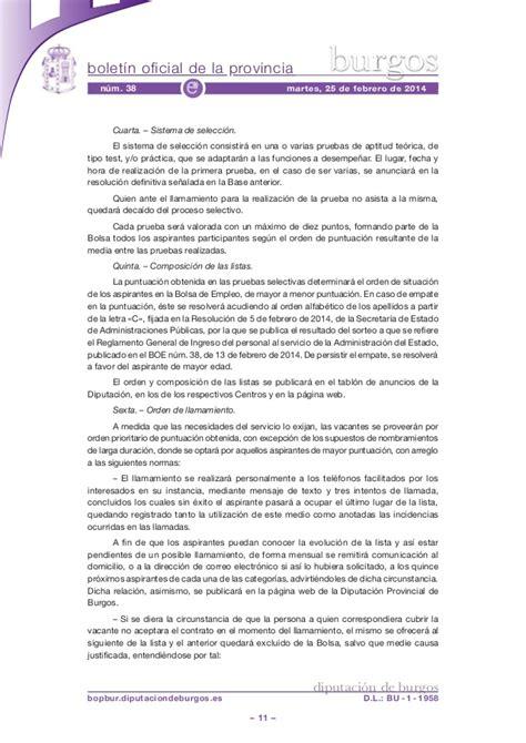 Convocatoria bolsa empleo diputacion burgos bopbur 2014 ...