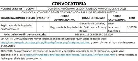 CONVOCATORIA CONCURSO REGISTRADOR DE LA PROPIEDAD - DE ...