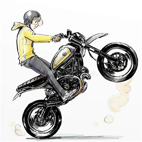 Cool Boy Riding Extreme Motorcycle Stock Illustration ...