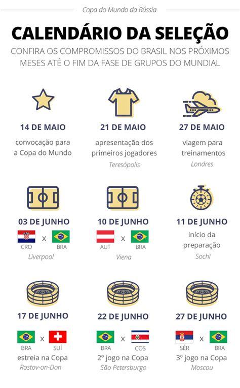 Copa do Mundo 2018: Calendário da Seleção Brasileira no ...
