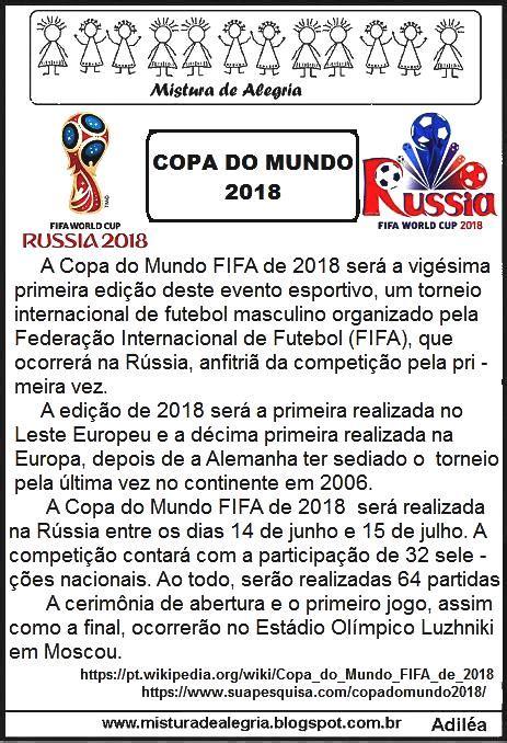 COPA DO MUNDO DE 2018, TEXTOS E ATIVIDADES PARA IMPRIMIR ...