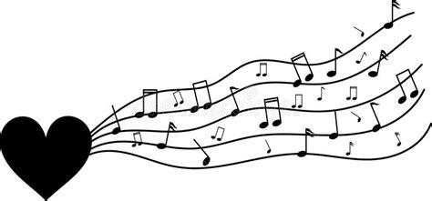 Corazón Negro En Blanco Con Las Notas Musicales ...