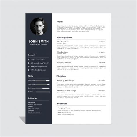 Corporate curriculum vitae template Vector | Free Download